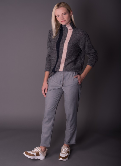 Spodnie cygaretki z mankietem Hugo_Szare