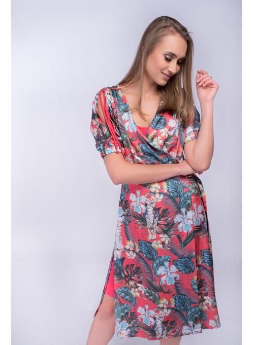 Letnia Sukienka we wzory Paradise_Czerwona
