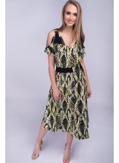 Zielona sukienka w zwierzęce wzory Fluo