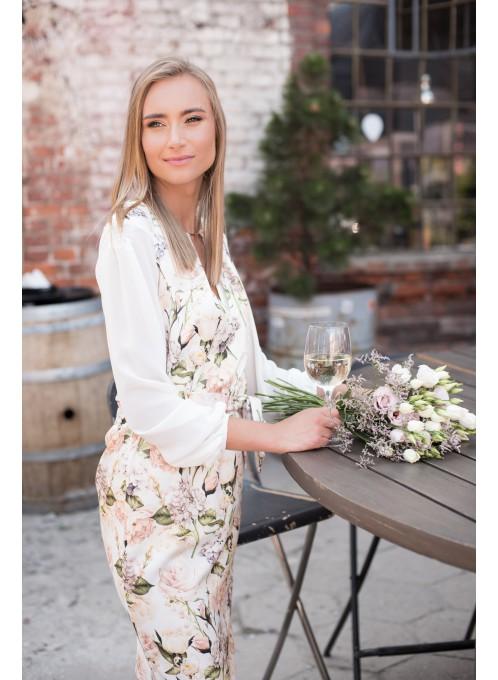 Sukienka wizytowa w kwiaty Flora