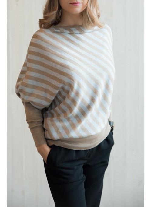 Sweter pasy brąz-szary