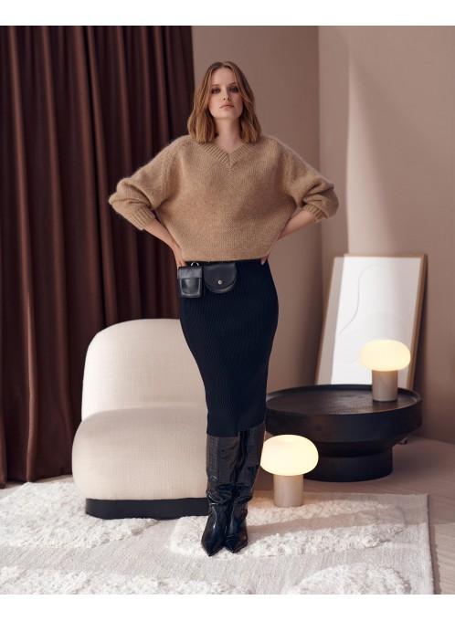 Megamiękki sweter z moherem Omar Beżowy